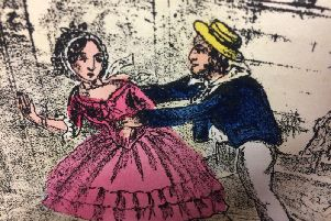 An illustration in Fanny Hill, otherwise titled Memoirs Of A Lady Of Pleasure, by John Cleland. Photo by Hansons Auctioneers.