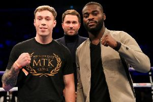 Liam Conroy, left, and Joshua Buatsi with promoter Eddie Hearn
