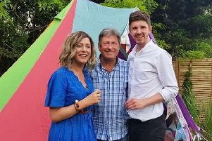 Roisin and partner Michael Brown on TV with gardening guru Alan Titchmarsh.