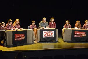 Michael Rosen hosts the Children's Shakespeare Debate with Year 6 pupils from Whytrig Community Middle School and Seaton Sluice Middle School at Whitley Bay Playhouse. Picture by Jane Coltman