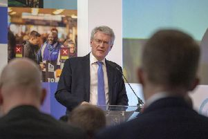 Andrew Jones speaking at the Transport for the North conference in Sheffield. Picture: Scott Merrylees.