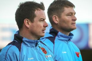Chorley boss Jamie Vermiglio and coach Jonathan Smith watch on. Credit: Stefan Willoughby