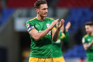 Ben Davies salutes the PNE fans at the final whistle of the win over Bolton