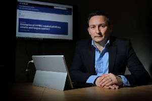 Don Woller, part of the HMRC cybercrime team in Yorkshire; inset, a thief can ruin your life from behind a desk. (Picture: Tony Johnson).