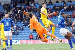 Chesterfield FC V Brackley Town.           'Shwan Jalal clears from a Brackley attack.