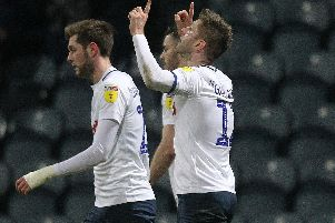 Paul Gallagher celebrates scoring from the spot against Norwich.
