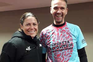 Paul Fry with Olympic runner Helen Clitheroe