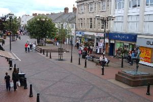 Station Road, the pedestrianised main shopping street, Ashington.