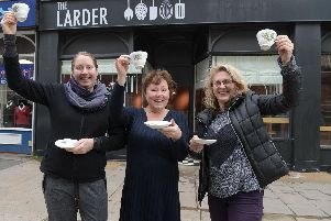 Chryssa Malfa-Erguvan, Helen Weir and Kay Johnson ahead of the opening of The Larder this afternoon