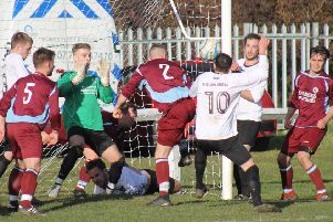 Action from last Saturday's thrilling West Riding County Amateur League Premier Division game between Littletown and Ryburn United at Beck Lane, in which the home side took the spoils with a 7-4 victory. Pictures: Chloe Feather