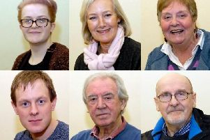 Katy Taylor, Anne Chadwick, Marilyn Crowther, Jonathan Pye, Alan Hargreaves (director) and David Kendrick, who are starring in Billy Liar at The ACE Centre, Nelson, next month. Photos by Colin Antill Photography. (s)