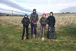 Duchess's Community High School students Owen Douglas, Joseph Brunger, Max Harrison and James Carragher plant trees to help raise funds towards a trip-of-a-lifetime to the Galapagos Islands.