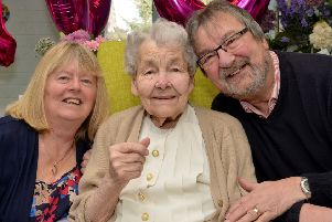 Rhoda Brassington celebrates her 100th birthday, Rhoda is pictured with Son Peter and Daughter-In-Law Valerie