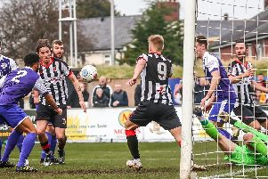 Goalmouth action from Chorley's game against Ashton United on Saturday