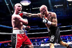 Adam Little goes on the attack against Nathan Hardy. Picture Kevin Gilbo/Eat Sleep Boxing Repeat