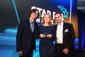 Martin and Rowena Sanderson, winner of the most family friendly pub atthe Star Pubs and Bars awards,  with comedian Ed Byrne.