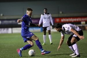 Picture by Shibu Preman / ahpix.com;'Football; Season 2018/19; Nation League; Conference premier; Vanarama National League; Chesterfield vs Bromley;'7:45pm Tuesday;  12th March;'Hayes Lane; Bromley stadium;'Chesterfield forward Lee Shaw (9) tackling the ball'Copyright picture; 'Howard Roe; '07973 739229;