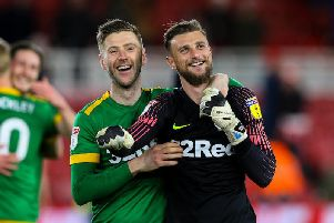 Paul Gallagher celebrates Preston's win at Middlesbrough with Declan Rudd