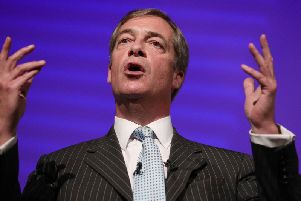 Nigel Farage is leading the March to Leave rally. Photo by PA.