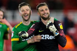 Preston goalkeeper Declan Rudd (right) with Paul Gallagher at Middlesbrough on Wednesday night