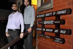 Faith: Preston's Light Foundation organisers Arfan Iqbal, left, and Nadeem Ashfaq at the Quaker meeting house, where they hold monthly discussion groups