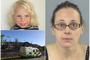 Police vehicle in Fordingbridge (Bottom left), after Claire Colebourn (right) murdered her three-year-old daughter Bethan (Top left) by drowning her in the bath following the breakdown of her marriage.