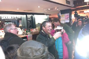 Nigel Farage at the Merry Go Round pub in Hartlepool following the first leg of the March to Leave.