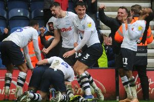 Preston's players celebrate Sean Maguire's stoppage-time winner against Birmingham City at Deepdale