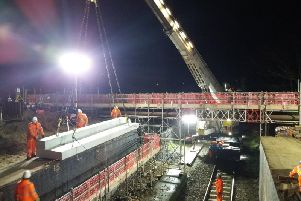 New railway new bridge being installed on Highbury Road, St Annes