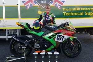 Mansfield's Lewis Jones with his 151's-backed Ninja 300 bike and the trophies he won at Brands Hatch.