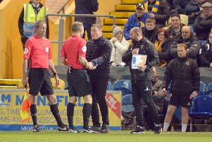 Mansfield Town v Lincoln City.'David Flitcroft has words with referee Graham Scott.
