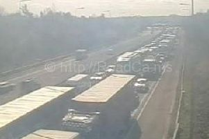 Traffic at a standstill at junction 28 of the M6