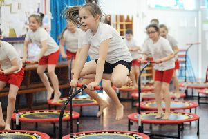 St Joseph's school pupils take part in a mini trampolining session delivered by Boogie Bounce and Olympian Bryony Page. Pictures by Jason Chadwick.