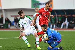 PNE striker Sean Maguire in action for Republic of Ireland against Gibraltar