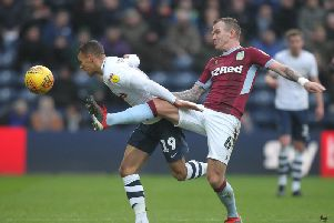 Graham Burke in action for Preston against Aston Villa at Deepdale in December