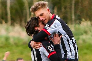 Louis Almond celebrates with Josh Wilson after netting against Leamington (photo: Stefan Willoughby)