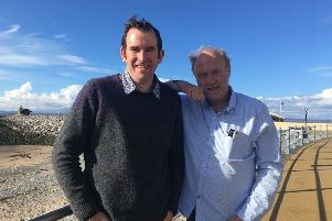 David Harland, chief executive of Eden Project International, and Sir Tim Smit, founder of the Eden Project, on Morecambe Promenade.