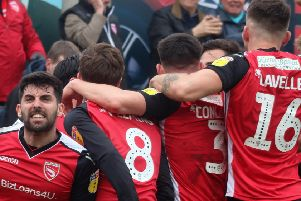 Morecambe celebrate Liam Mandeville's goal against Crawley Town