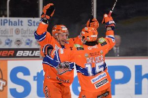 SAME AGAIN PLEASE: Jonathan Phillips celebrates scoring in the 5-4 win at home to Cardiff last month. Picture: Dean Woolley.