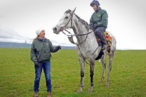 Jockey Danny Cook and trainer Sue Smith with Grand National hope Vintage Clouds.