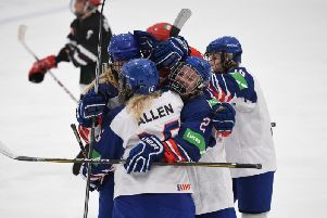 GB Women celebrate one of their three goals against Mexico in Dumfries on Friday night. Picture: Karl Denham,