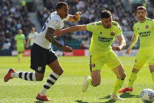 Preston's Lukas Nmecha runs at the Sheffield United defence