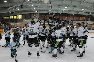 Hull's players celebrate their North One playoff success against Sheffield Steeldogs. Picture courtesy of Hull Pirates.