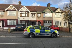 Police at a property in Applegarth Drive, Ilford, east London, where heavily pregnant Devi Unmathallegadoo, 35, was fatally shot with a crossbow. Her ex-husband, Ramanodge Unmathallegadoo, 51, who is on trial at the Old Bailey, has denied murder and the attempted destruction of the unborn child.