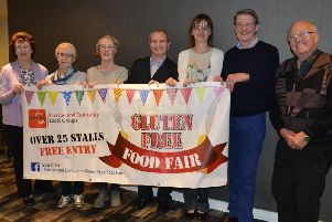 The organisers of a gluten free food fair in the sports hall at Prestons College in Fulwood.'Pictured left to right: Jean Greenwood, Pat Beesley, Jennifer Doran, Mark Peckham, Vicki Wetton, Stephen Howarth and Michael Greenwood