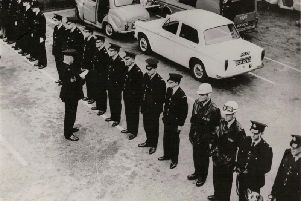 Preston Borough Police officers on parade at Earl Street police station, in Preston, circa 1964