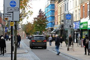 Fishergate bus lane, with the much-debated sign