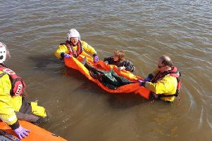 Morecambes volunteer RNLI hovercraft crew rescued a stranded porpoise across the bay at Humphrey Head on Thursday, April 11.