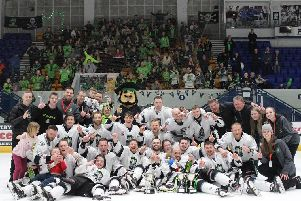 Hull Pirates celebrate their NIHL Play-off final win over Peterborough. Picture courtesy of Hull Pirates.