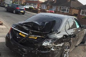 The damaged Mercedes (photo Natalie H Rushton)